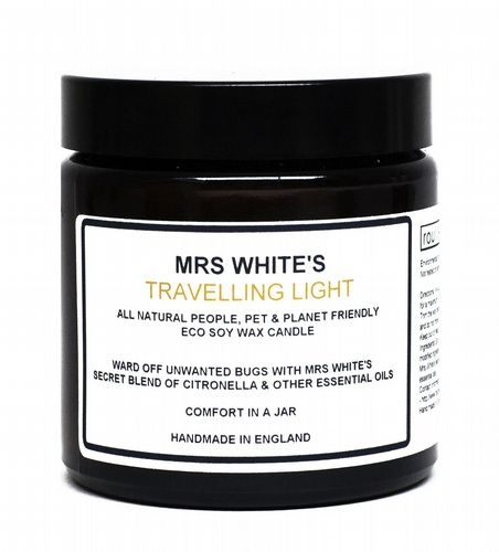 Mrs White's - Travelling Light - All natural bug repelling candle - 100 gra